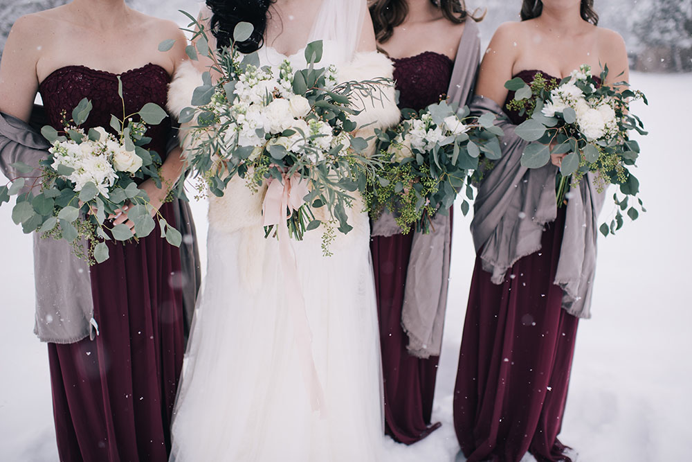 Winter wedding in white, marsala and sage | flowers by Natasha Price of Paper Peony Alaska and photo by Erica Rose Photography