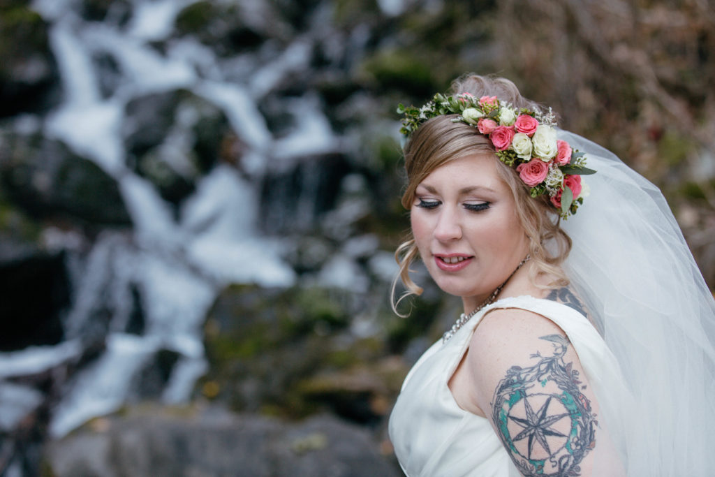 partial flower crown with spray roses