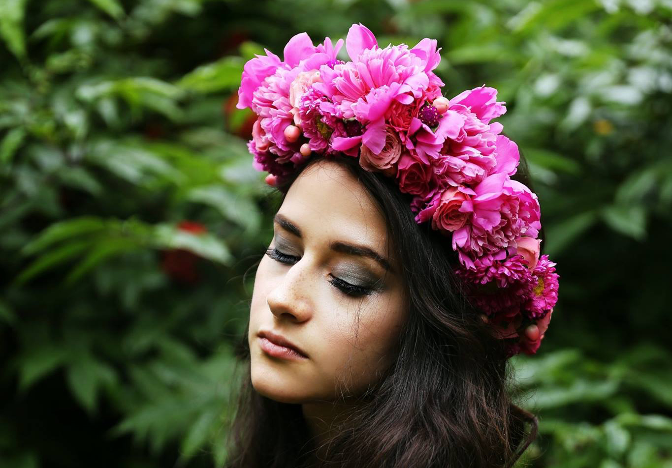 Specialty flower crown made with Alaska-grown peonies | designed by Natasha Price of Paper Peony