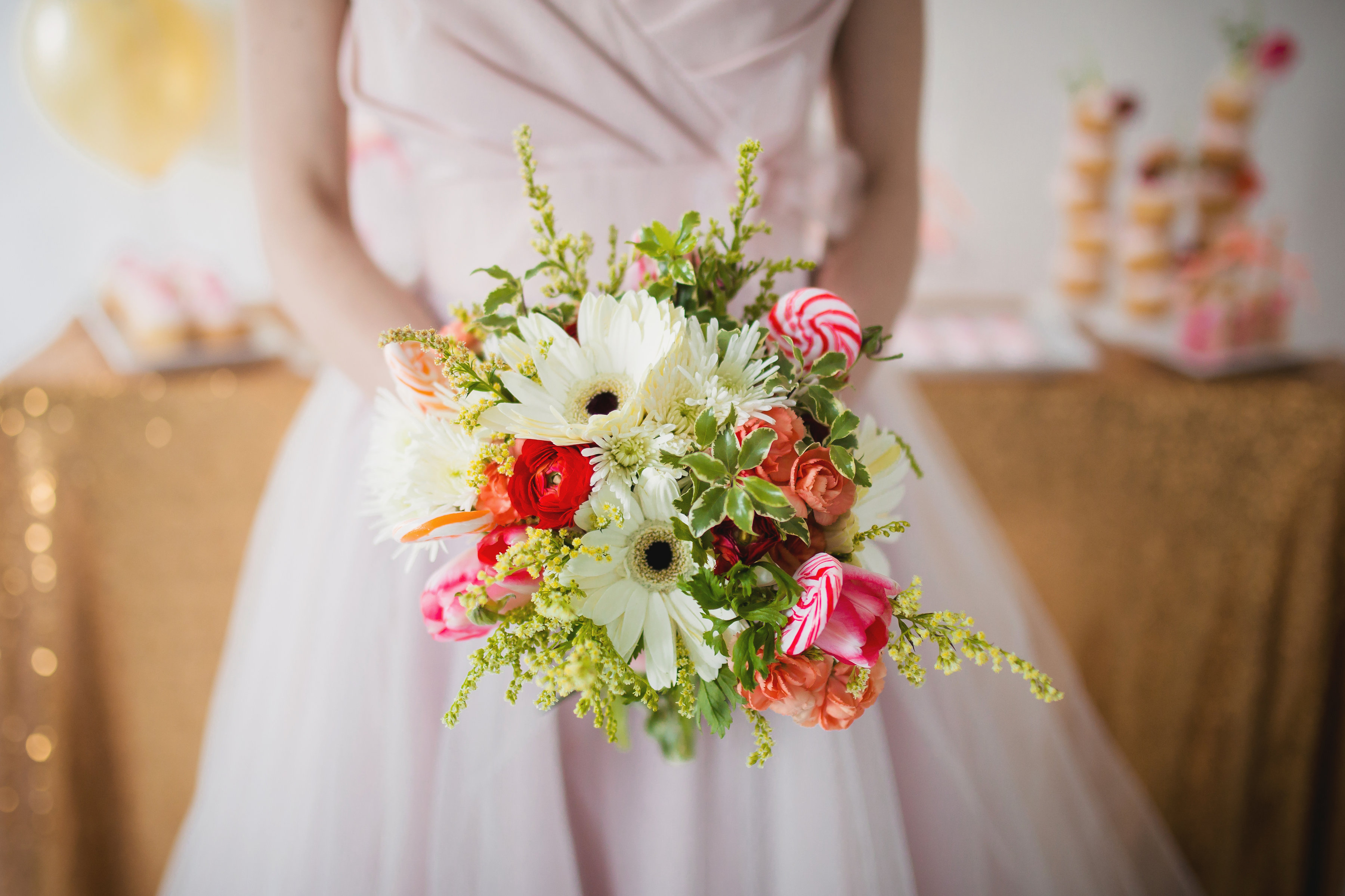 Bridal bouquet with white gerbera daisies and lollipop accents   designed by Natasha Price of Paper Peony and photo by Dolce Vita Photo Boutique