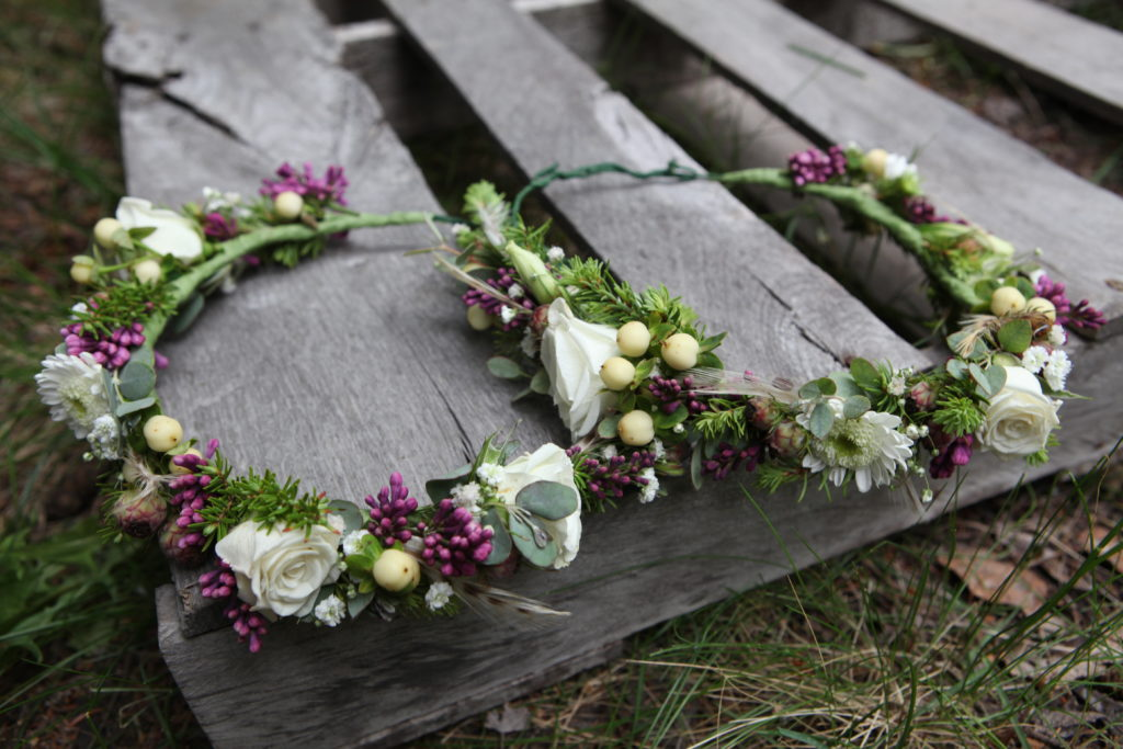 Flower crowns with lilac and spray roses by Natasha Price of Paper Peony