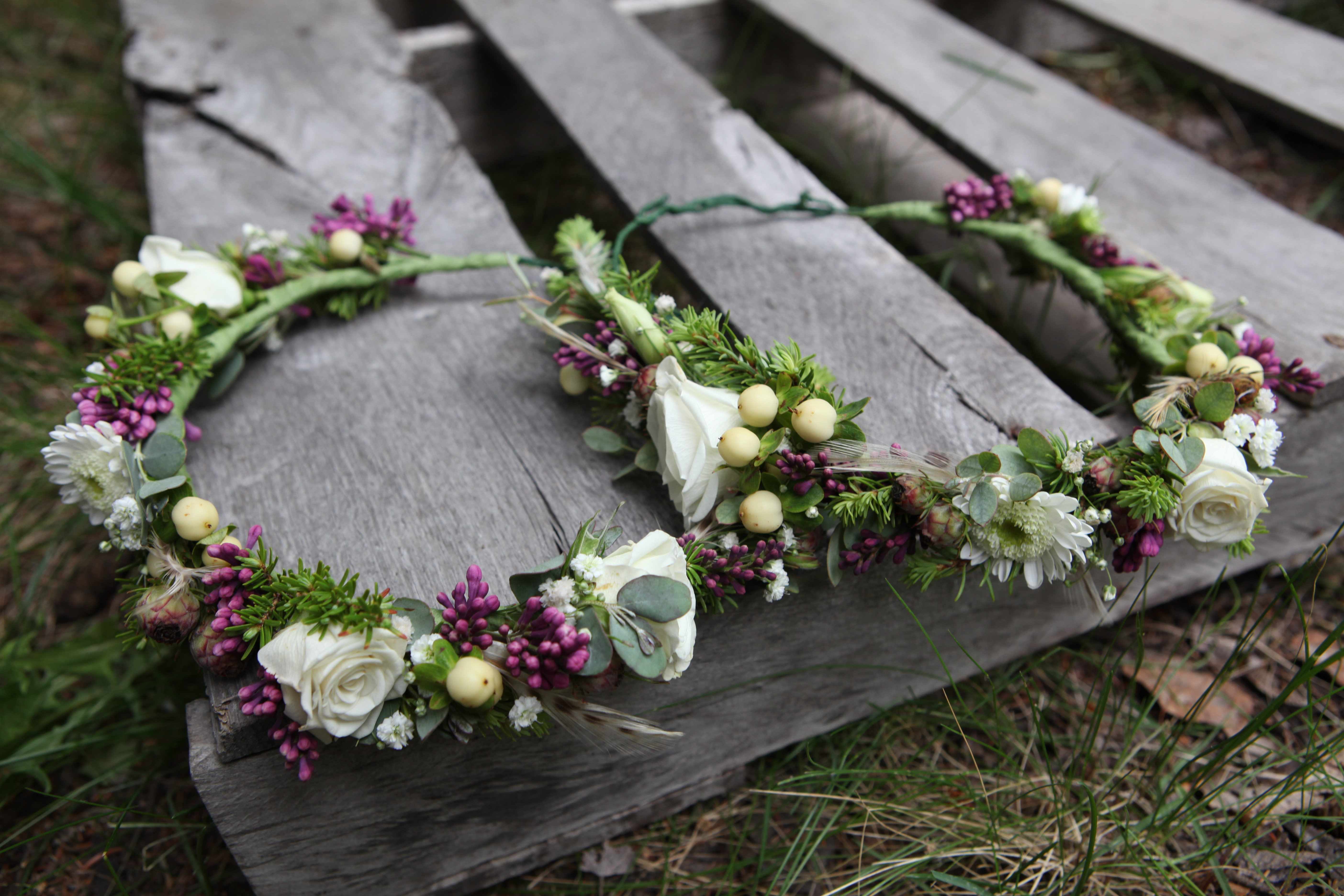 Flower crowns with lilac and spray rose | designed by Natasha Price of Paper Peony