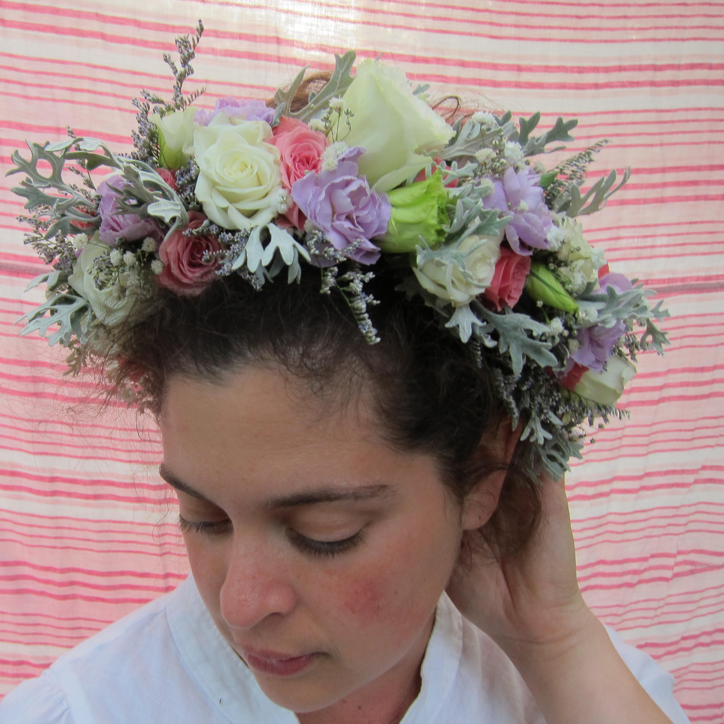 Full-sized flower crown with spray roses | designed by Natasha Price of Paper Peony