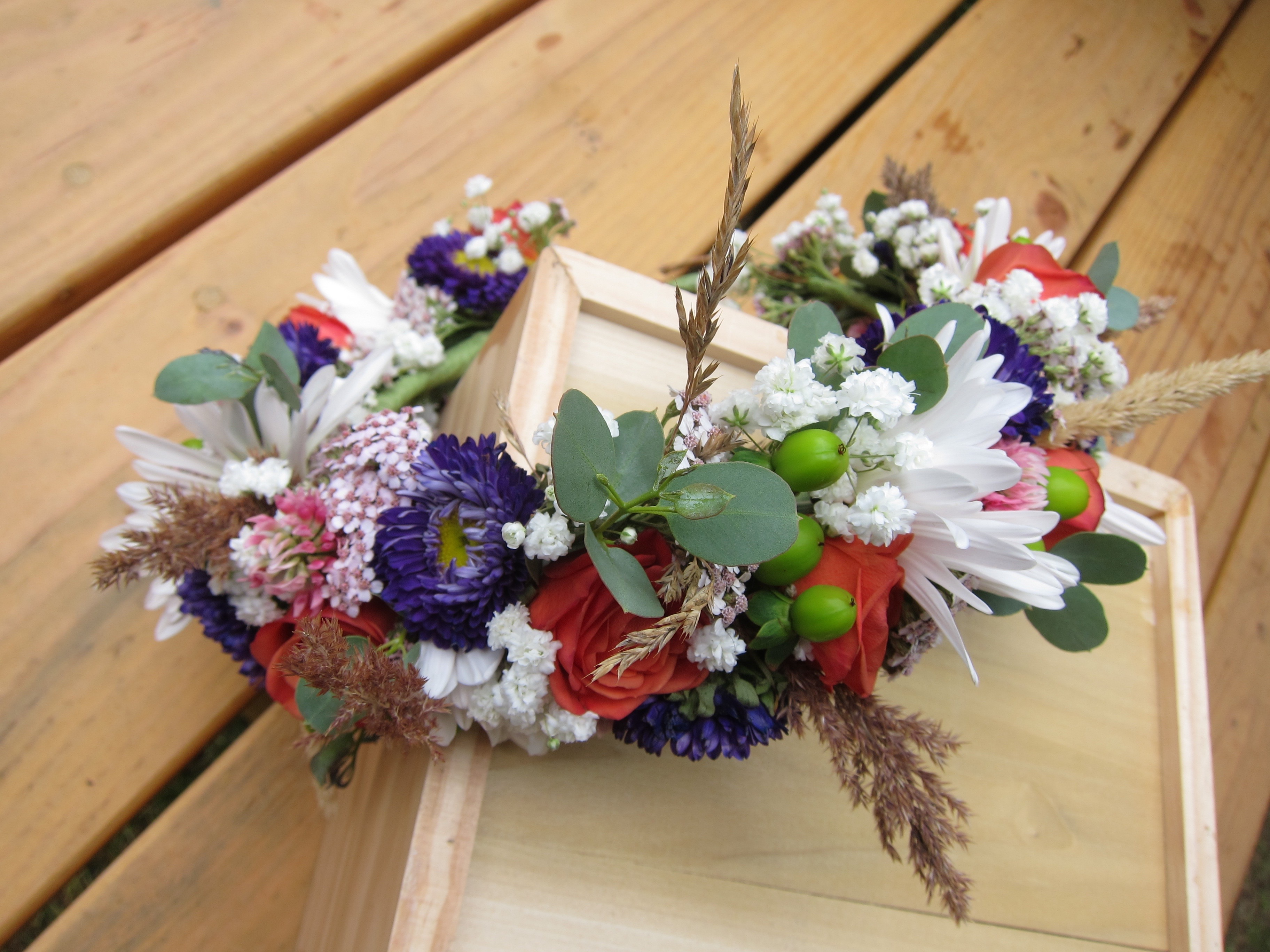 Flower crown made with purple Japanese asters and Alaska wildflowers   designed by Natasha Price of Paper Peony