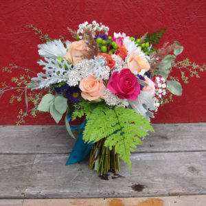 Bridal bouquet with wild Alaska flowers designed by Natasha Price of Paper Peony