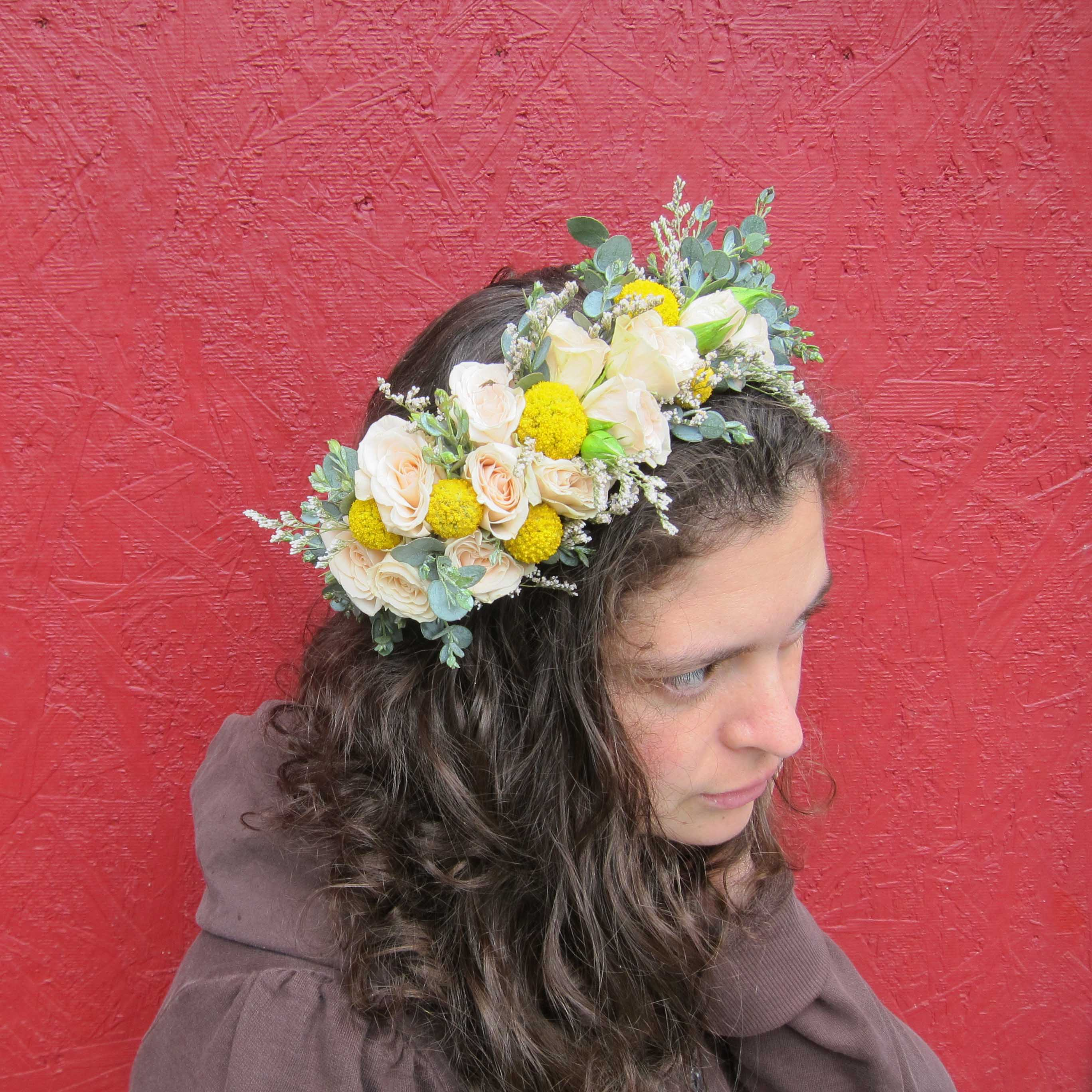 Fresh flower crown by Natasha Price of Paper Peony Alaska