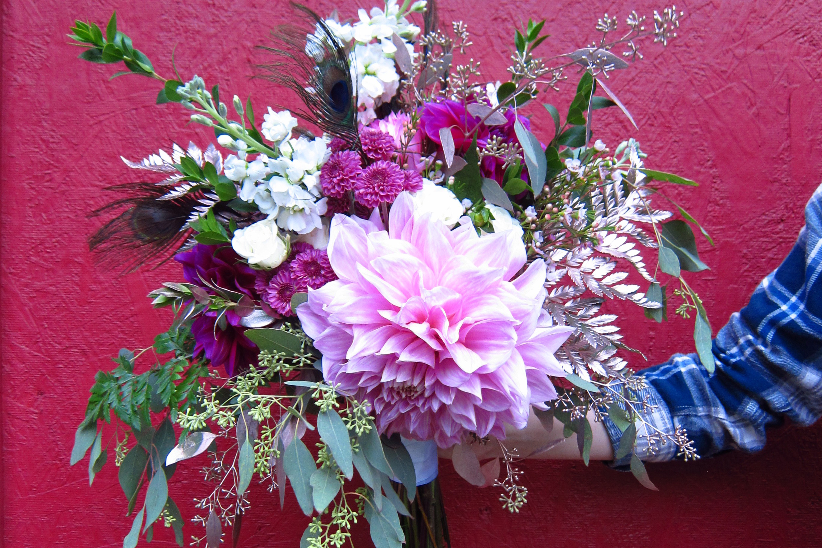 Bridal bouquet with large dahlia by Natasha Price of Paper Peony Alaska