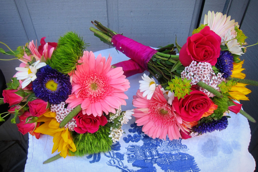 Multi-colored bridesmaid bouquets | designed by Natasha Price of Paper Peony Alaska
