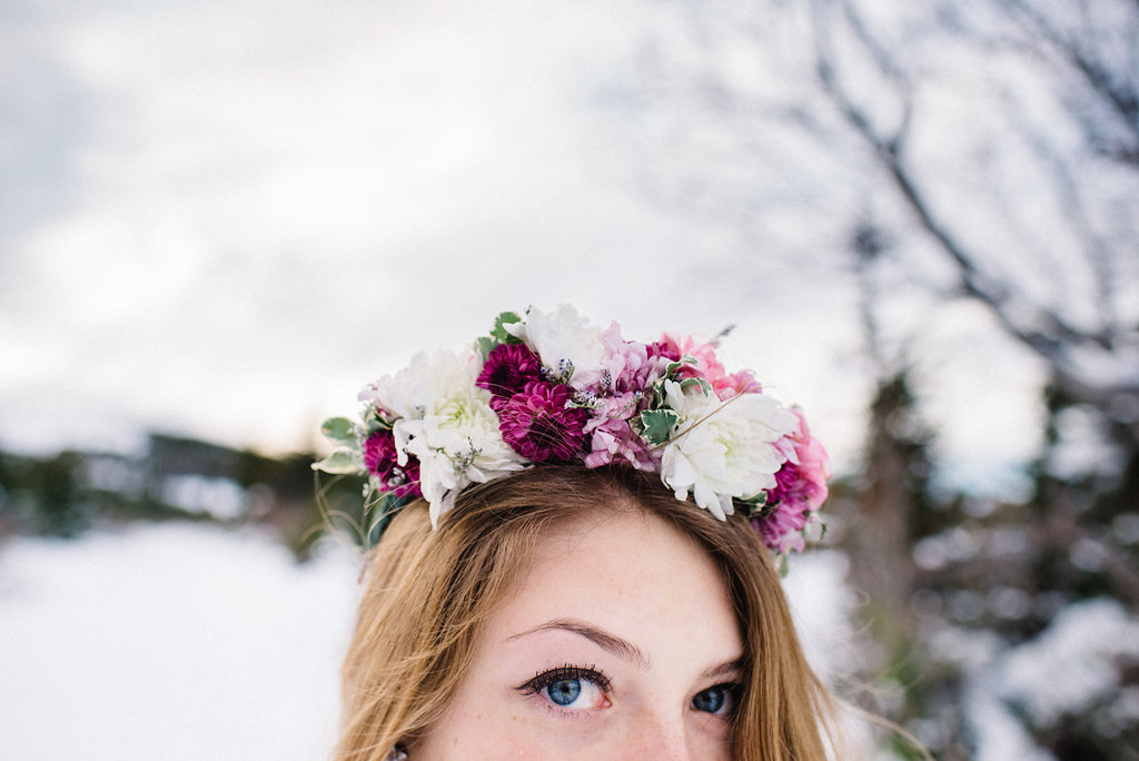 Partial flower crown with mums | designed by Natasha Price of Paper Peony and Photo by Sara Olivia Photography