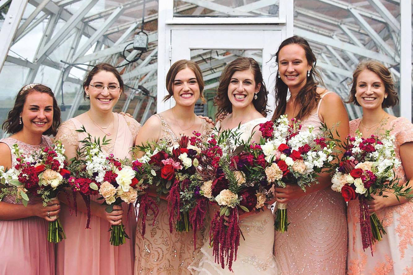 Burgundy bridal bouquets by Natasha Price of Paper Peony Alaska
