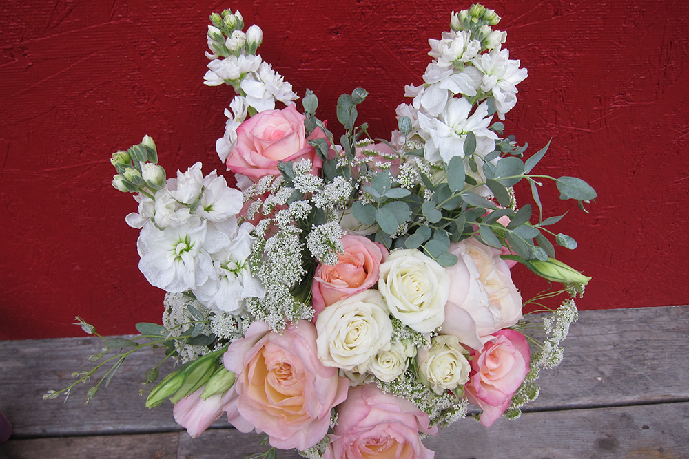 Delicate bridal bouquet with garden roses, stock and queen anne's lace | designed by Natasha Price of Paper Peony Alaska