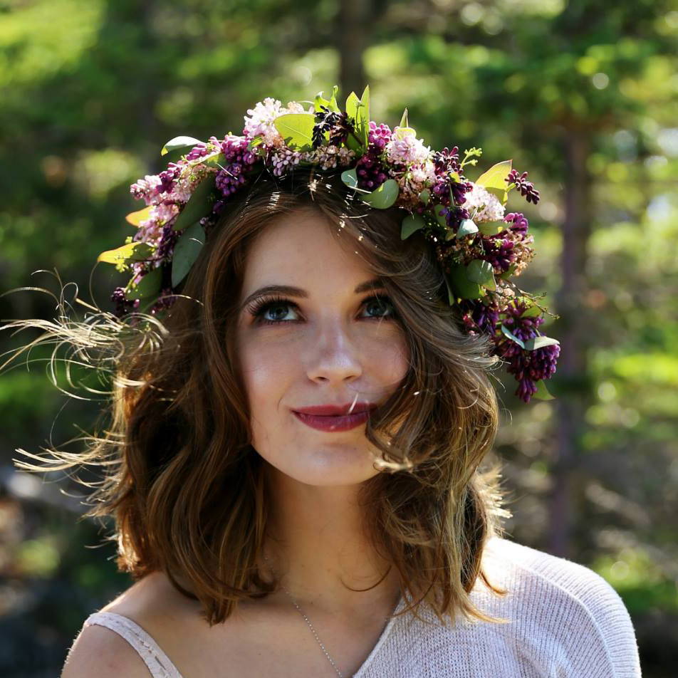 Full-sized lilac crown | designed by Natasha Price of Paper Peony and photo by Cleo Jane Photography