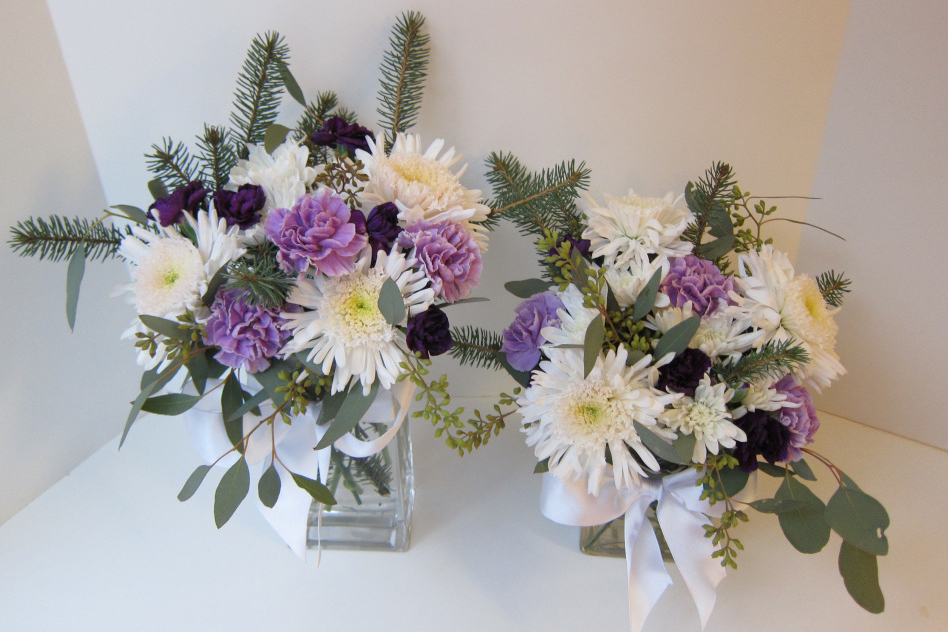Purple and white centerpieces | flowers by Natasha Price of Paper Peony Alaska