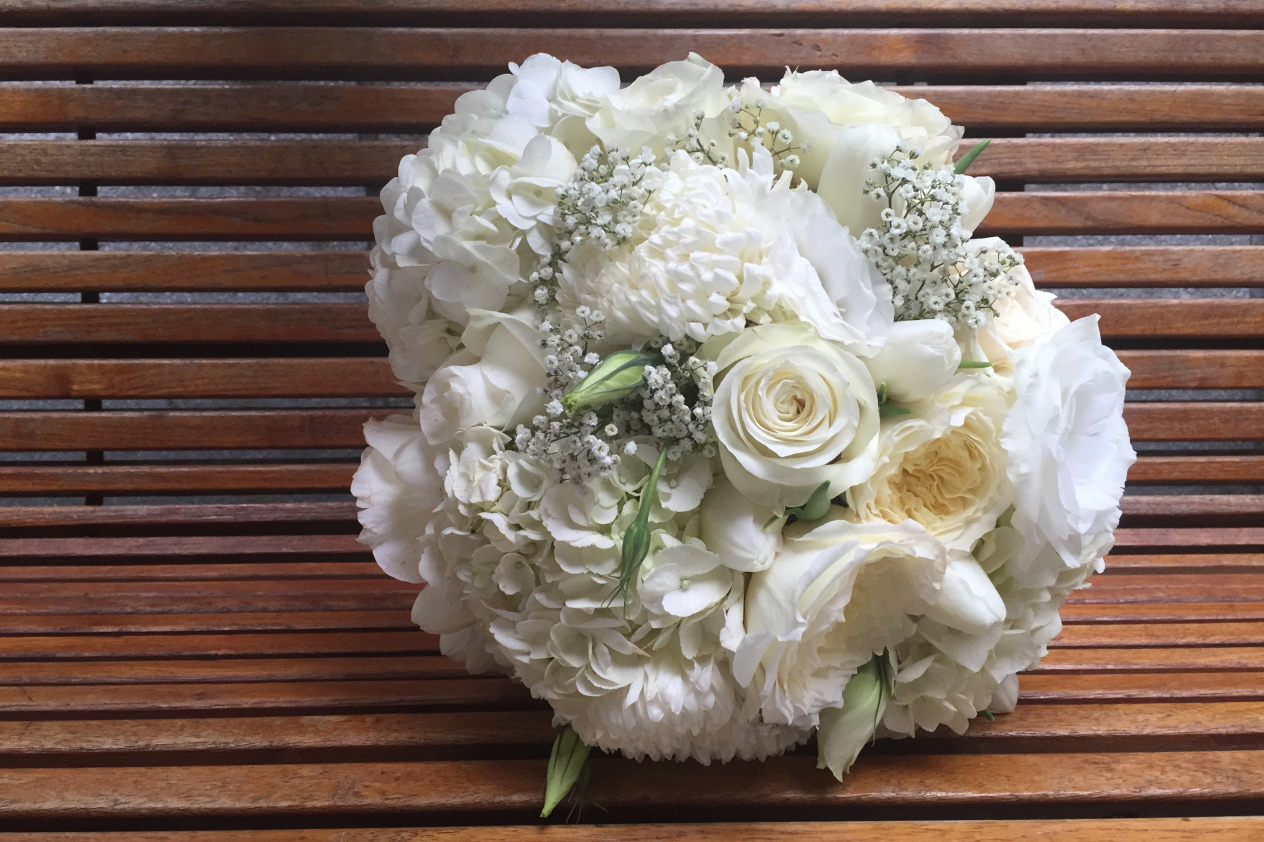 All white bridal bouquet with football mums, roses and hydrangea | designed by Natasha Price of Paper Peony Alaska
