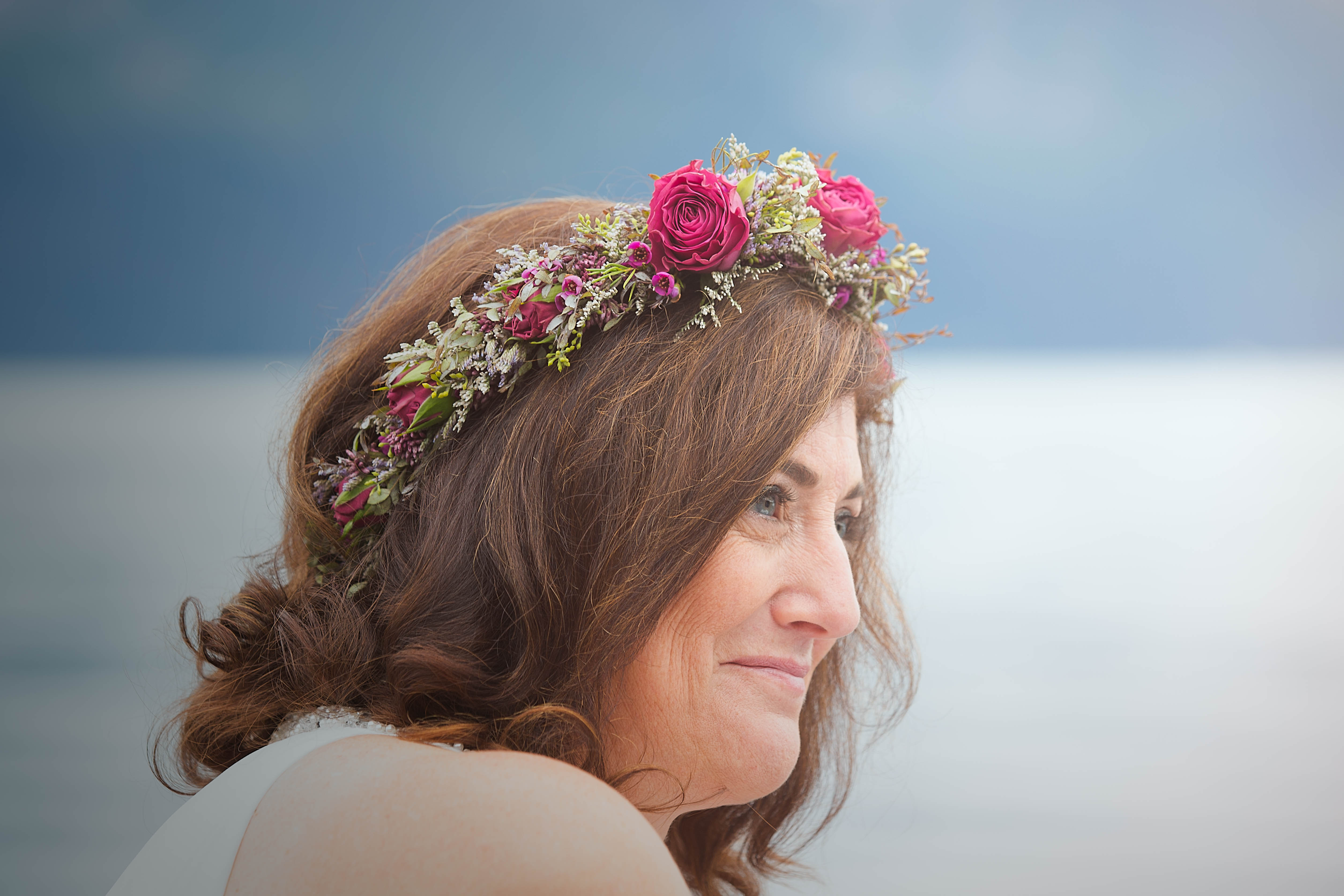 Lovely bridal flower crown with purple garden spray roses   designed by Natasha Price of Paper Peony and photo by Love Adventured