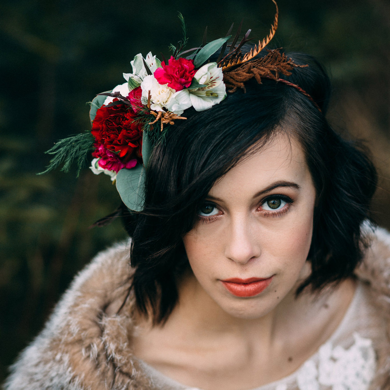 Partial crown with dried ferns by Natasha Price of Paper Peony Alaska and photo by Anne Marie Moran Photography