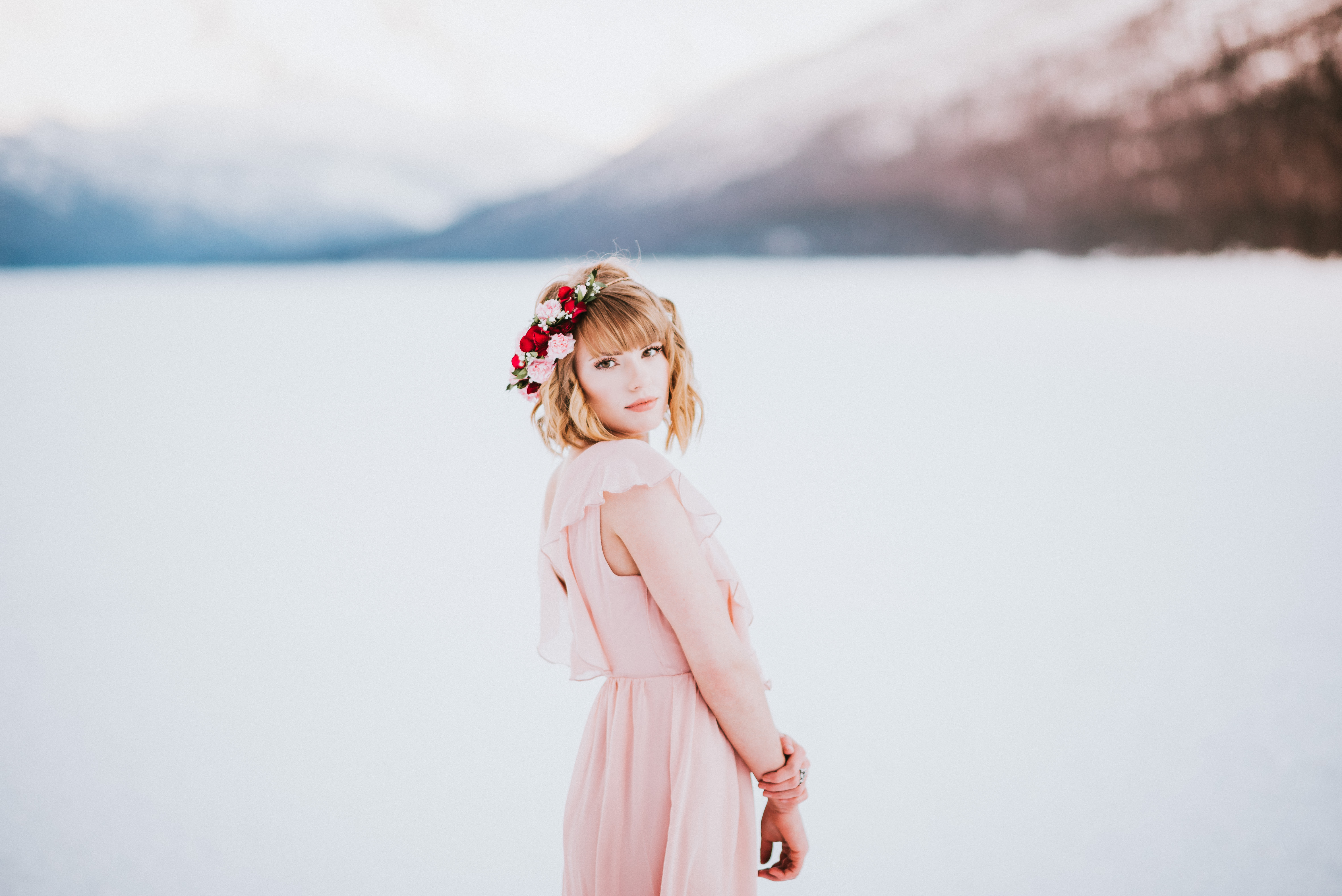 Partial flower crown on Eklutna Lake | designed by Natasha Price of Paper Peony Alaska and Photo by Donna Marie Photography