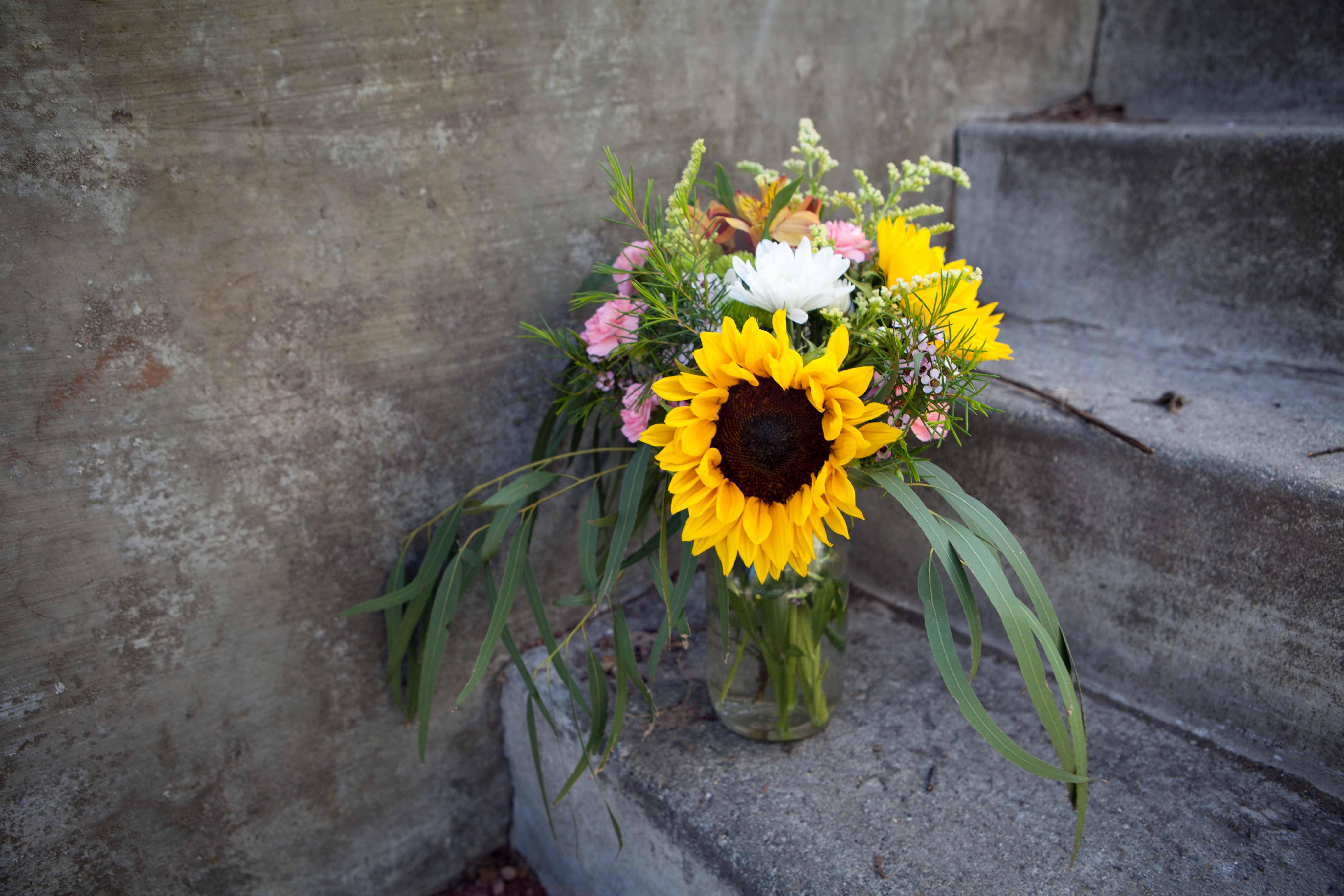 Sunflower arrangement with eucalyptus | designed by Natasha Price of Paper Peony Alaska