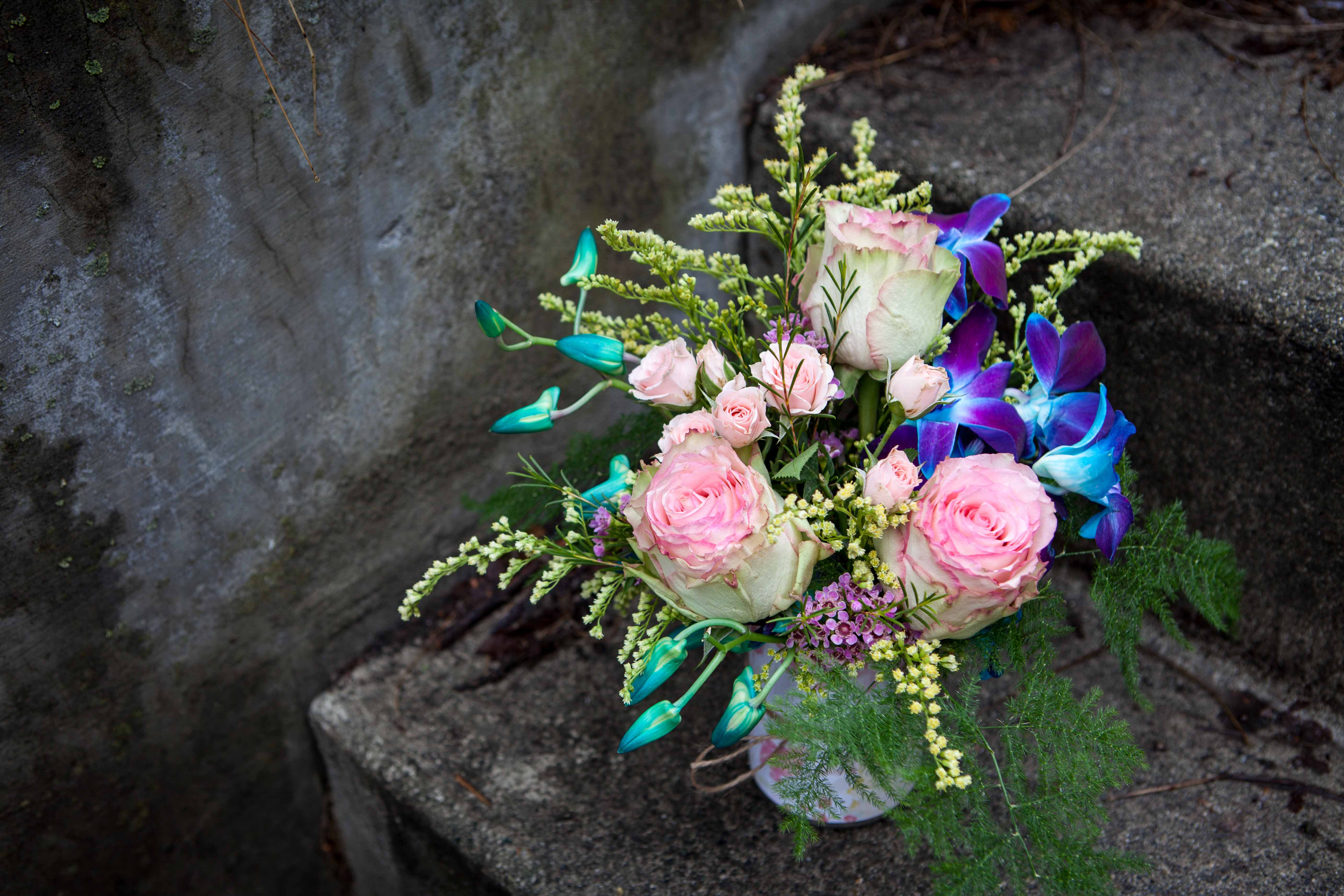 Small arrrangement with orchids, roses, spray roses, salidago and plumosa | designed by Natasha Price of Paper Peony Alaska