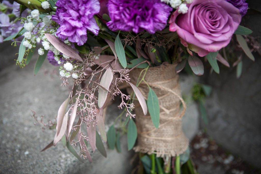 Purple bridal bouquet with hints of gold | designed by Natasha Price of Paper Peony Alaska