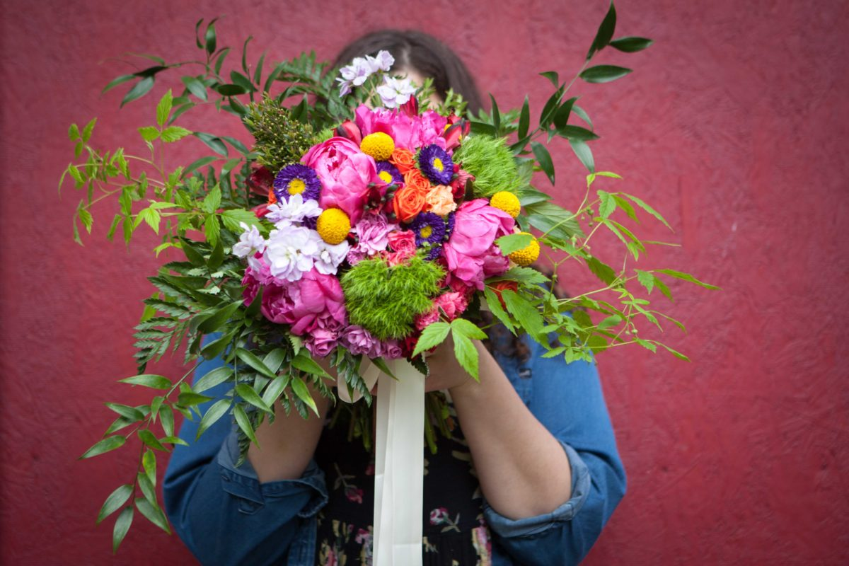 Rainbow bouquet by Natasha Price of Paper Peony Alaska