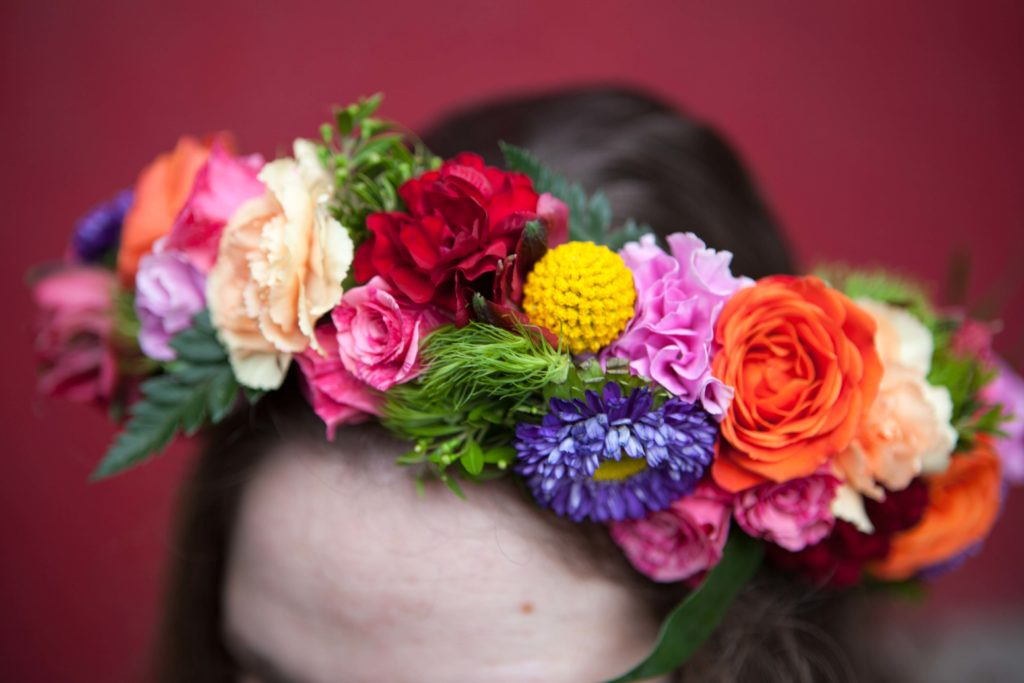 Flower crown with with lavender button mums, scarlet mini carnations, red alstroemeria, billy balls and orange and pink spray roses | designed by Natasha Price of Paper Peony Alaska