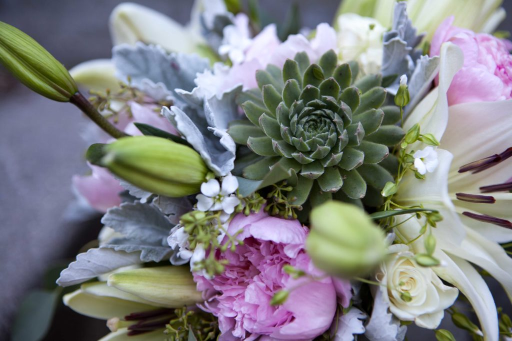 Peony and lily bridal bouquet with a succulent | designed by Natasha Price of Paper Peony Alaska