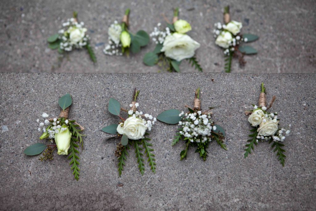 White boutonnieres by Natasha Price of Paper Peony Alaska