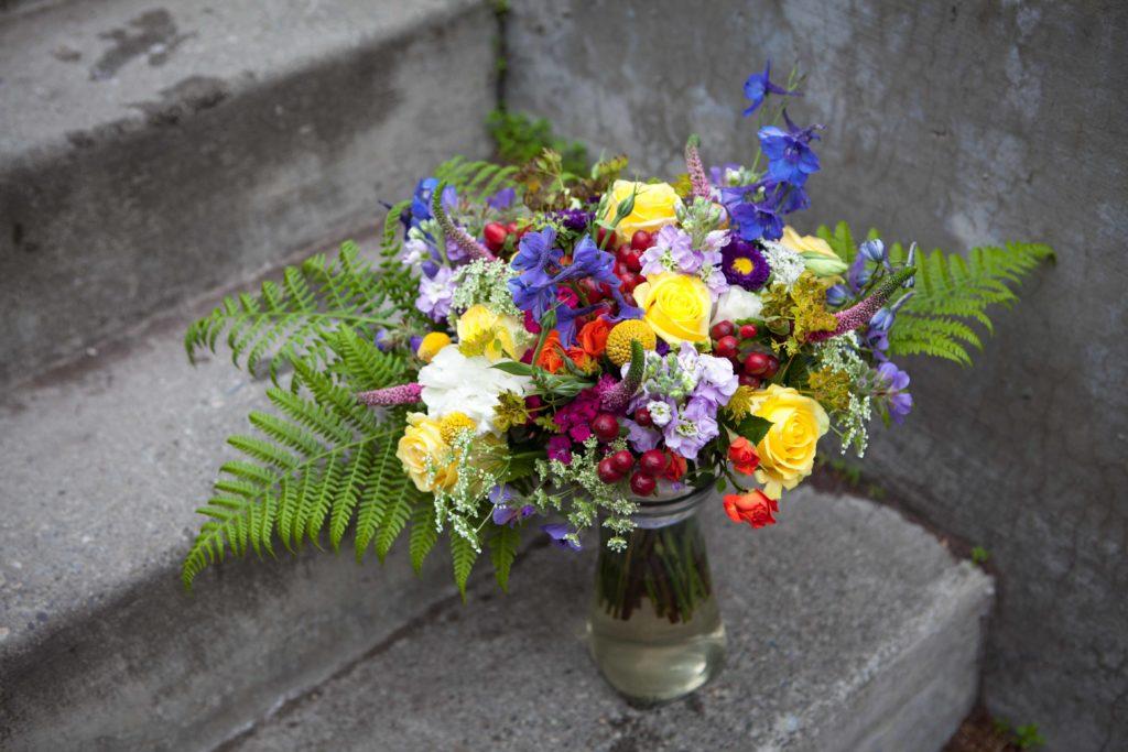 Rainbow bridal bouquet by Natasha Price of Paper Peony Alaska