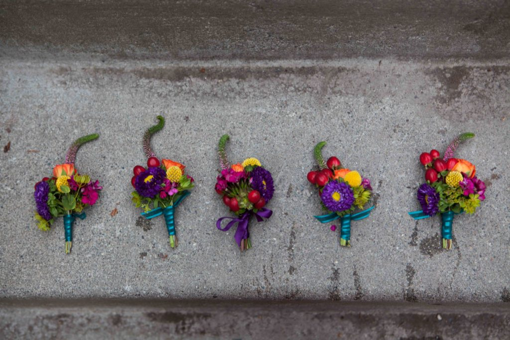 Colorful corsages by Natasha Price of Paper Peony Alaska