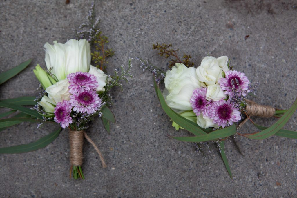Boutonniere with lisianthus, button mum, spray roses and willow eucalyptus | designed by Natasha Price of Paper Peony Alaska