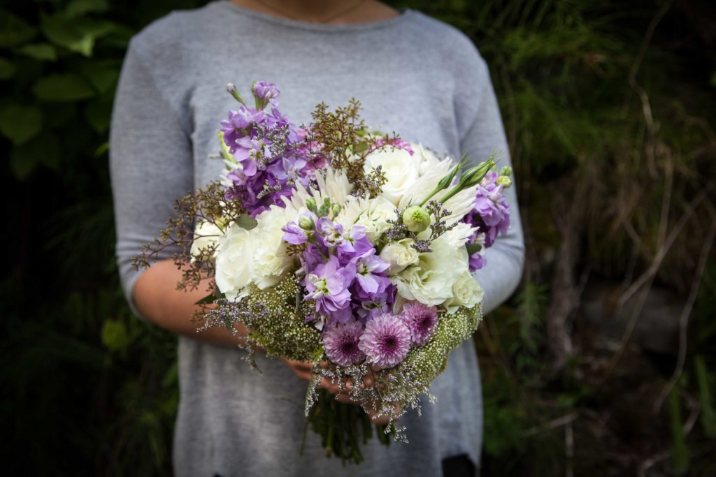 Small bouquet with fuji mums, white roses, button mums, lisianthus, Queen Anne's lace and limonium | designed by Natasha Price of Paper Peony Alaska