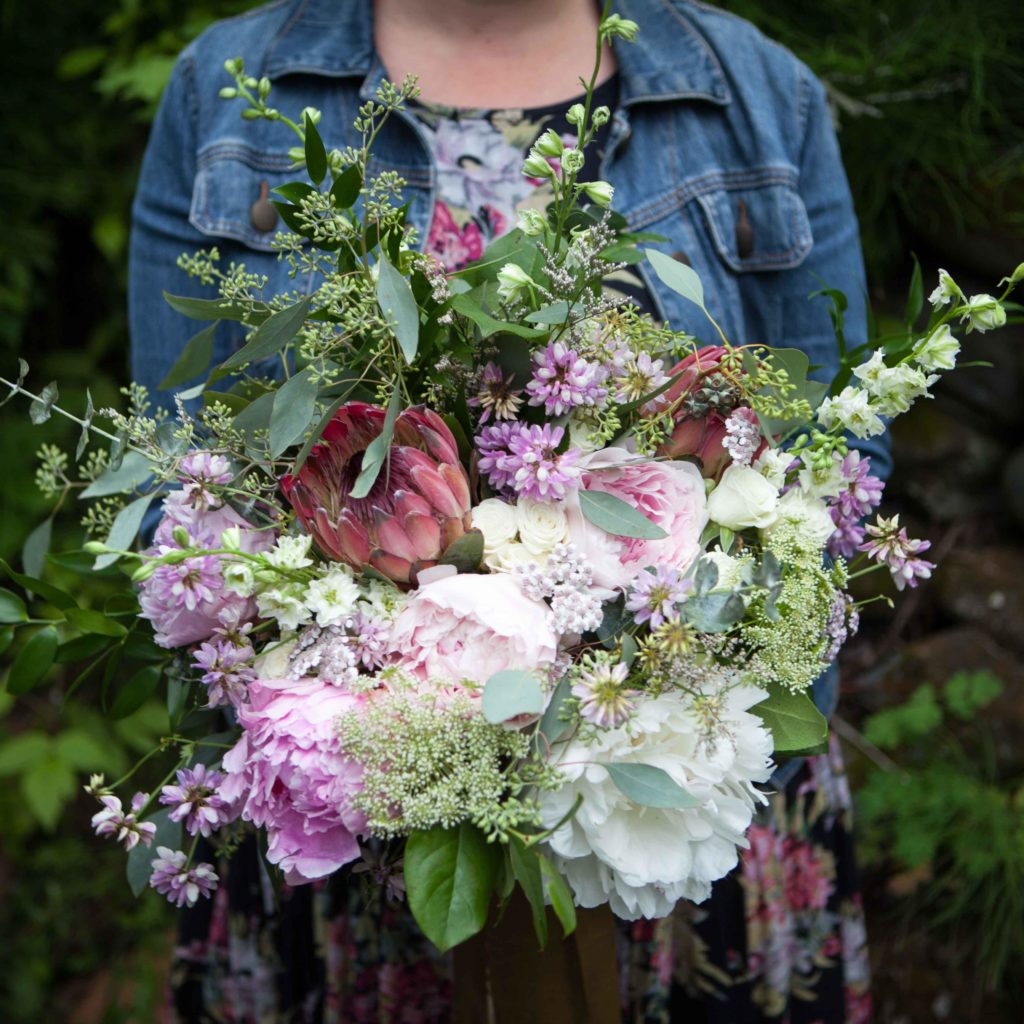 Bridal bouquet made with foraged elements and Alaska peonies | designed by Natasha Price of Paper Peony Alaska