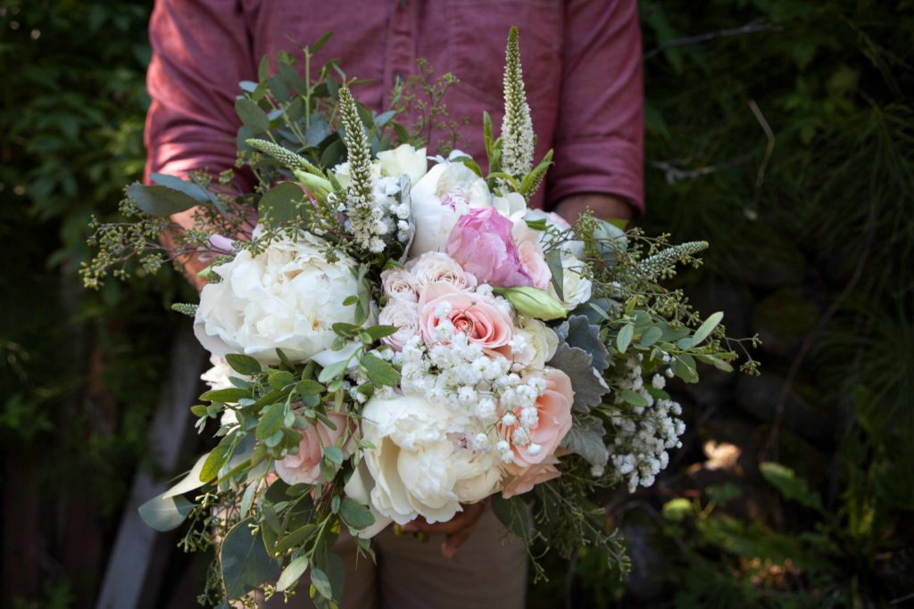 Romantic bridal bouquet with Alaska Peonies by Natasha Price of Paper Peony Alaska