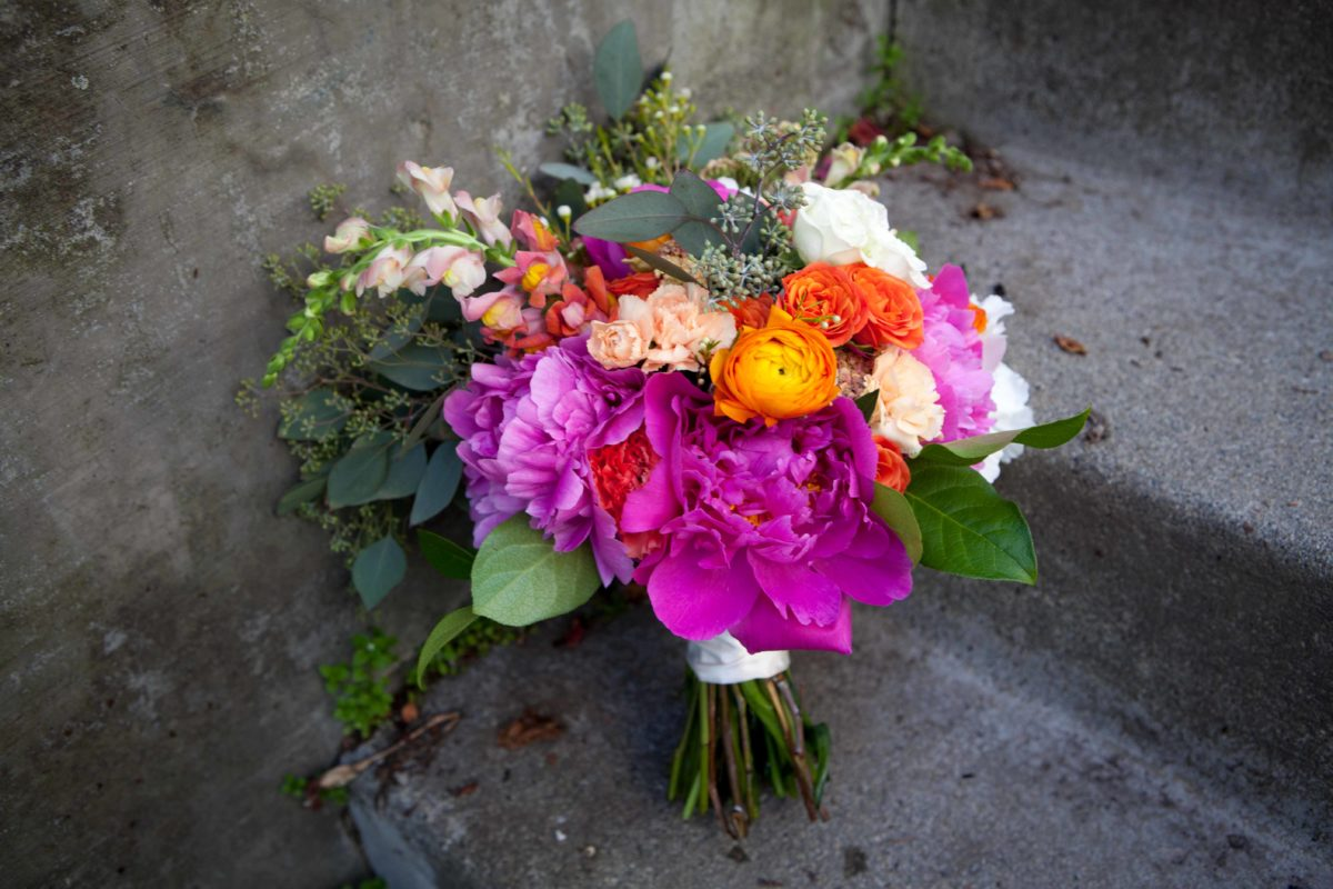 Fuchsia and orange bridal bouquet with Alaska peonies | designed by Natasha Price of Paper Peony Alaska