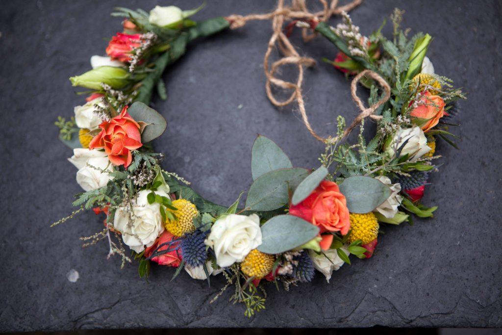Orange and white flower crown by Natasha Price of Paper Peony Alaska