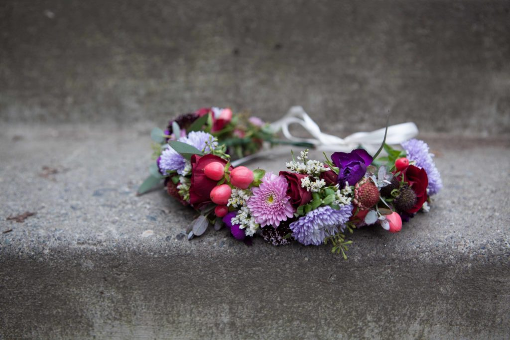 Bridal flower crown by Paper Peony Alaska