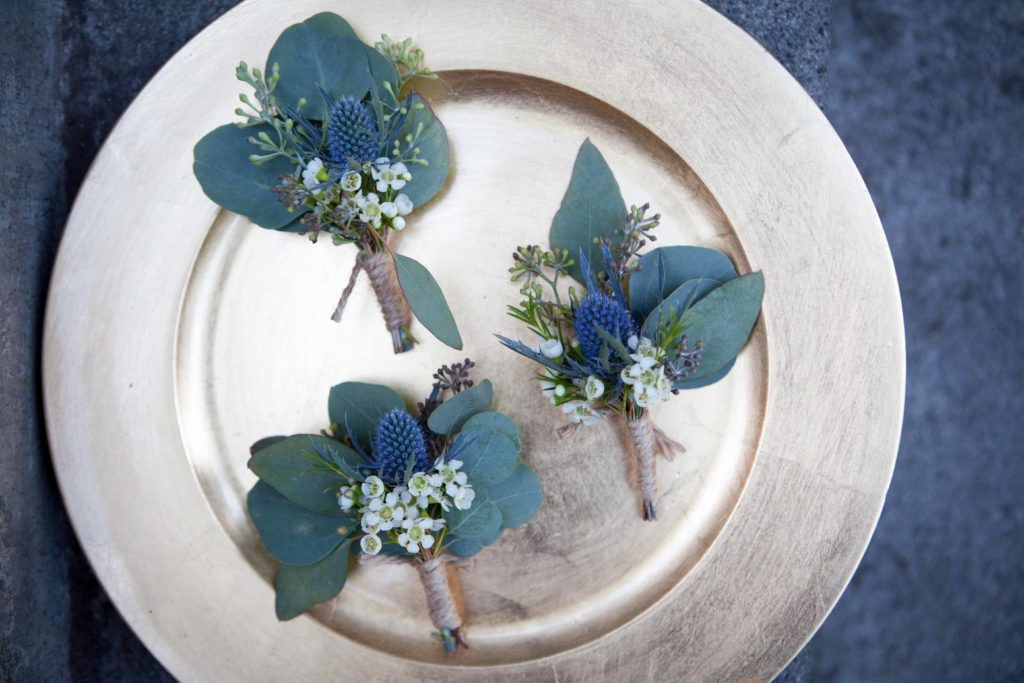 Thistle and waxflower boutonnière by Paper Peony Alaska