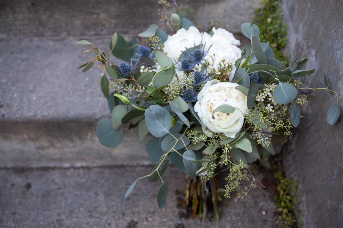 White and lavender bridal bouquet by Paper Peony Alaska