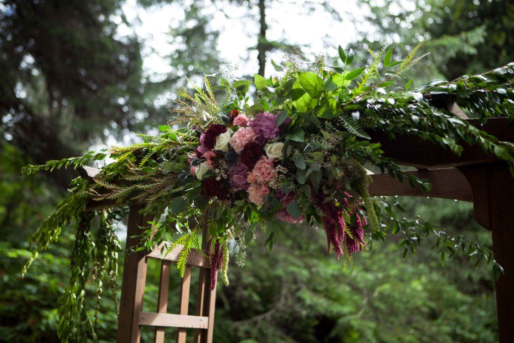 Burgundy arbor by Paper Peony Alaska