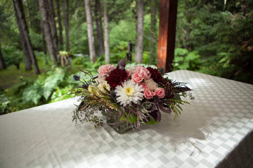 long, low centerpiece by Paper Peony Alaska