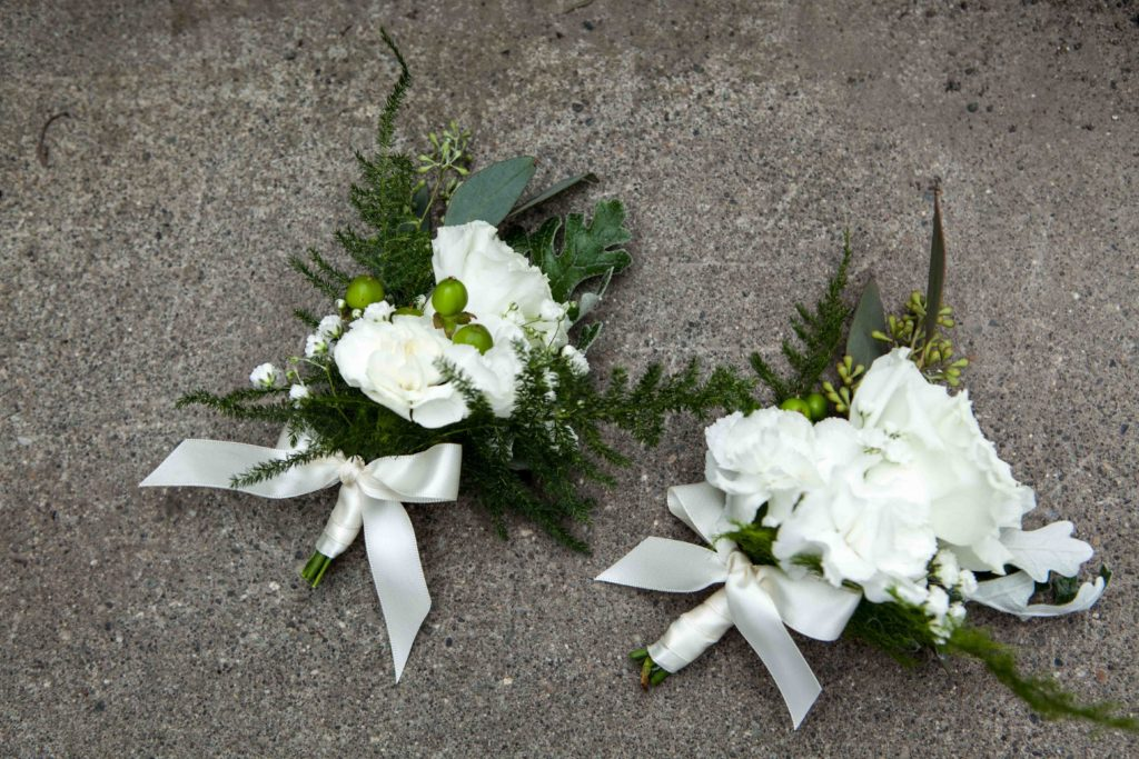 White corsages by Paper Peony Alaska