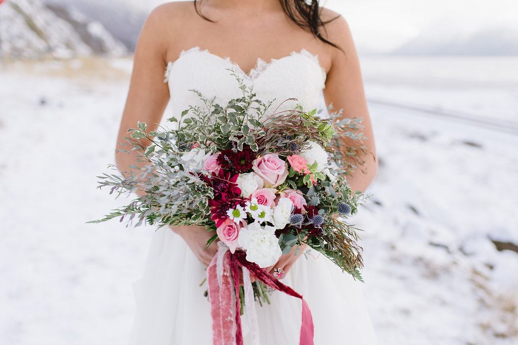 Ice Styled Shoot | Flowers by Paper Peony Alaska, Photos by Sara Olivia Photographer