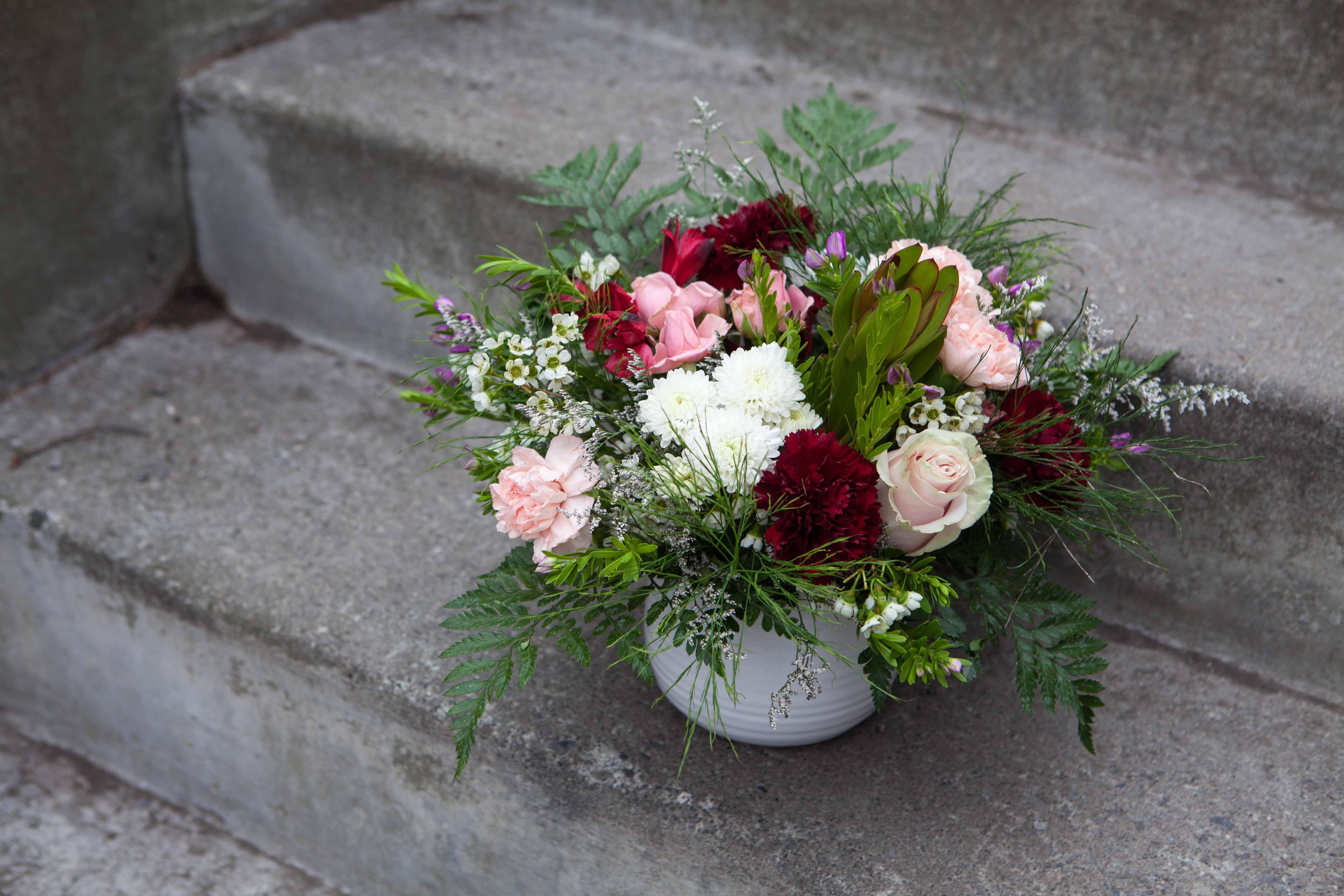 Flower arrangement by Anchorage florist Natasha Price of Paper Peony Alaska, LLC