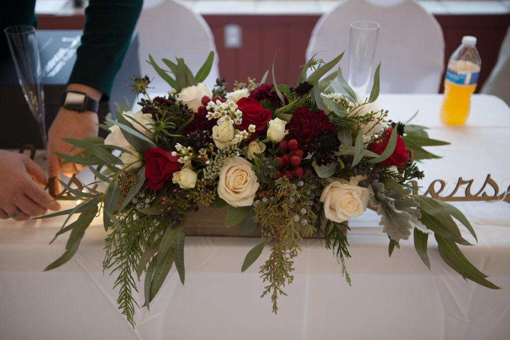 Winter wedding flowers by Anchorage florist Natasha Price of Paper Peony Alaska
